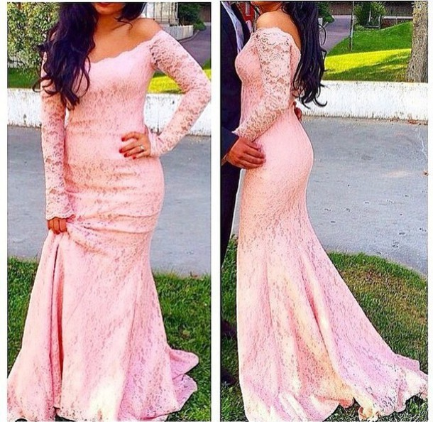75d292a5fa0 Pink Lace Prom Dress With Long Sleeves Mermaid Formal Evening Gowns Off  Shoulder Party Dress for Women