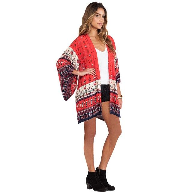 43eb6b230b Women Chiffon Kimono Cardigan Bikini Cover Up Print Boho Long Loose Casual  Beach Robe Blouse Top Red/Yellow Saida De Praia 2019