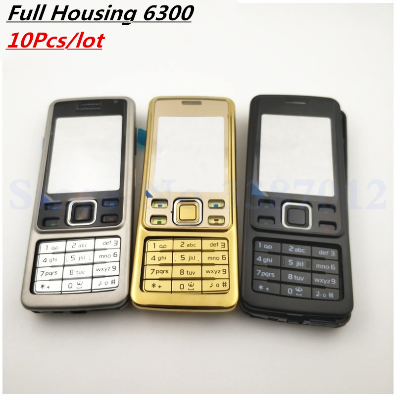10Pcs/Lot Good Original New For <font><b>Nokia</b></font> <font><b>6300</b></font> <font><b>Housing</b></font> Cover Door Frame + Battery Back Cover + Keypad + Logo image