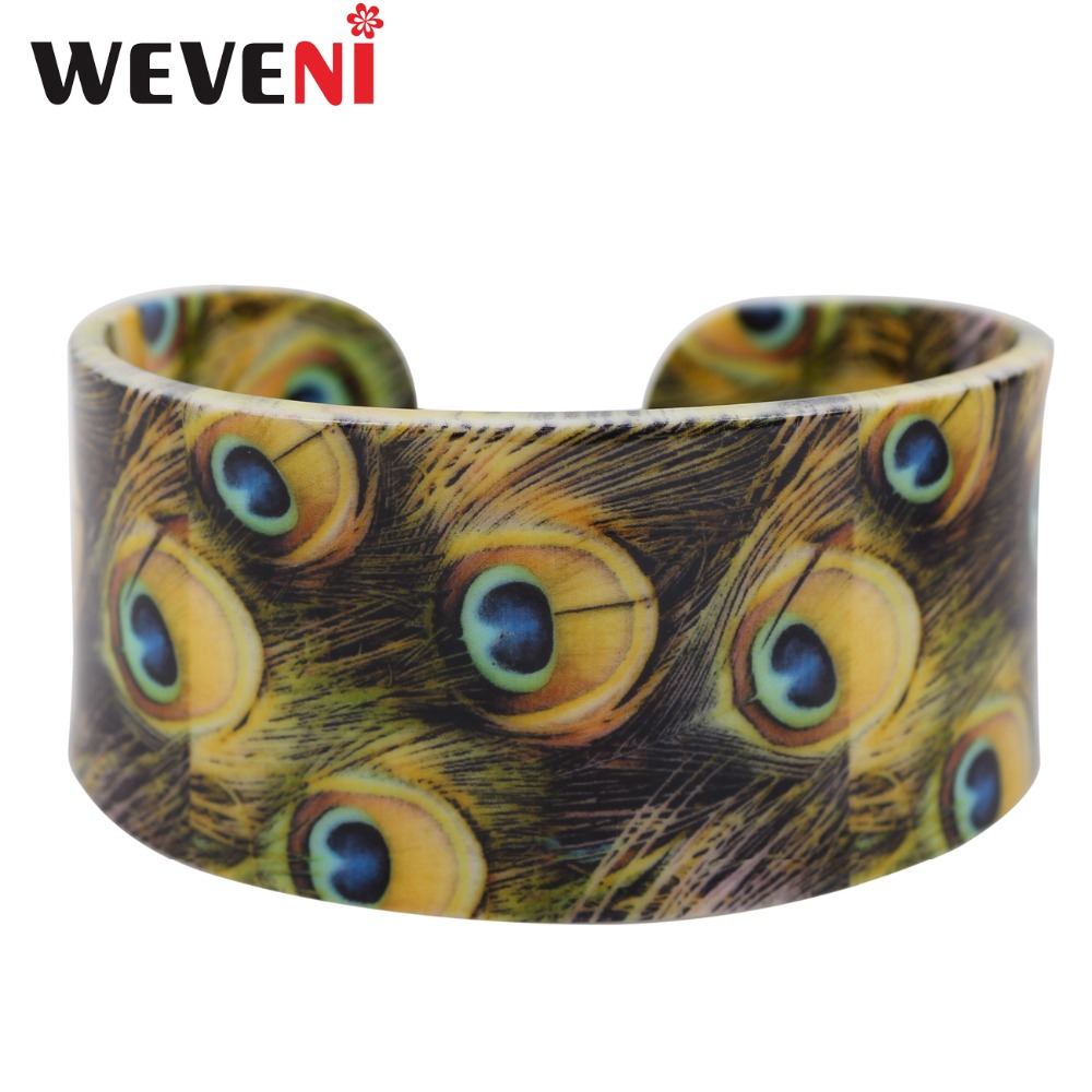 WEVENI Wide Love Peacock Feather Printing Bracelets Bangles Animal Jewelry For Women New Fashion Accessories Drop Shipping