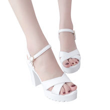 mary janes women shoes woman high heels Women Fish Mouth Platform chunky heel High Heels Wedges Sandals Buckle Slope Sandals#ss(China)