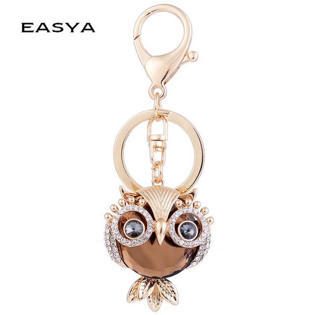 EASYA Big Crystal Owl Keychain Champagne Rhinestone Car Keyring Women Bag  Accessories Rhinestone Key Chain Metal Crafts f568502f1