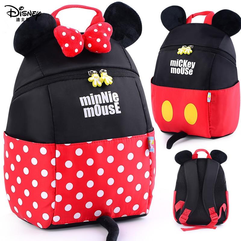 Disney Original Baby Backpack 1-5Y Baby Toddler Backpack Mickey Minnie Harnesses Leash Anti Lost Kindergarten Girl Boy Backpack