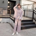 All new fashion ladies suit turtleneck sweater + knit wide leg pants two piece
