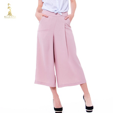 Formal Women's Wide Leg Pants High waist 2018 Fashion Office Ladies Work Full Pants Plus Size Black Red Female Trousers OL Suits