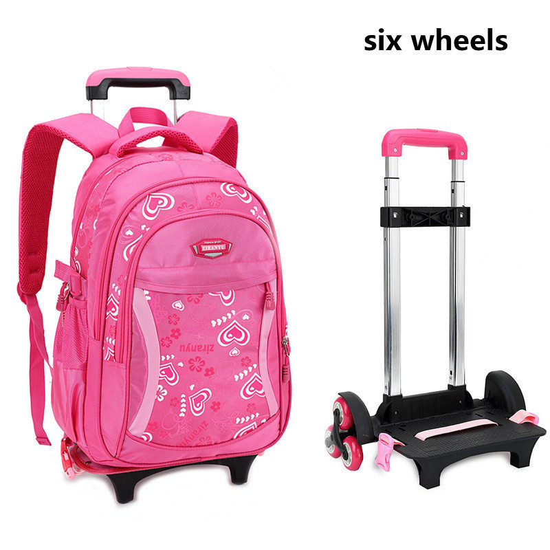 2019 Kids Six-wheel Travel Trolley Backpack Fashion Cute Heart-shaped Pattern School Bag Detachable Rolling Backpack For Girls2019 Kids Six-wheel Travel Trolley Backpack Fashion Cute Heart-shaped Pattern School Bag Detachable Rolling Backpack For Girls