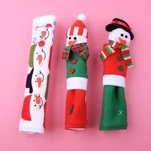LETAOSK 3 piezas Santa de la Navidad de microondas Puerta de muñeco de nieve de Navidad refrigerador cubierta de la manija de electrodomésticos de cocina Decoración