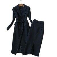 long Blazer+Skirts Office Uniform Style office Ladies Women high waist package hip skirt Blazer Two Piece Sets