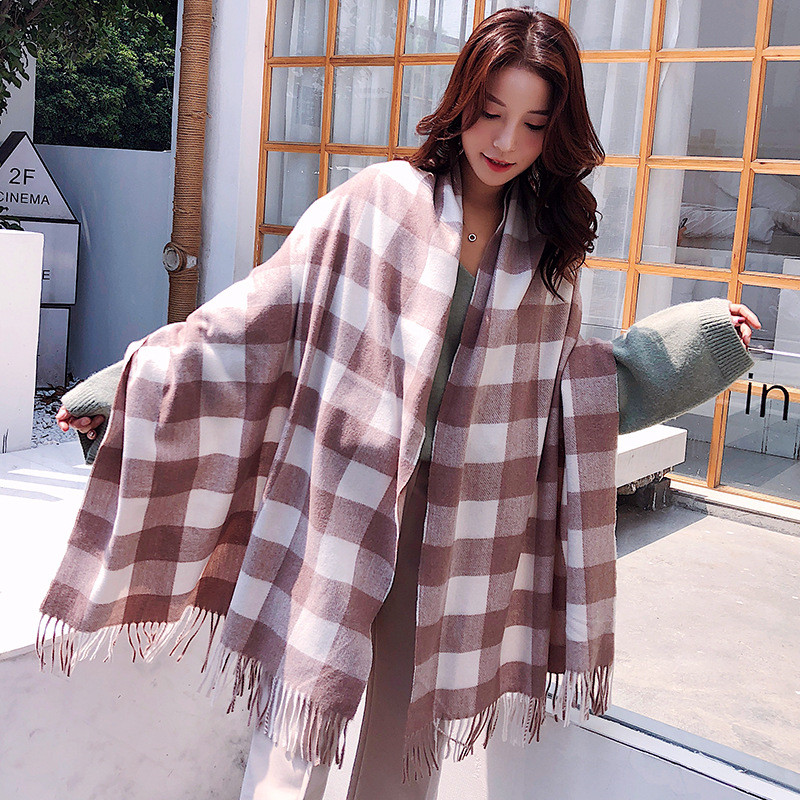 200*70cm Autumn And Winter Female Wool Plaid Scarf Women Cashmere Scarves Wide Lattice Long Shawl Wrap Warm Hijabs