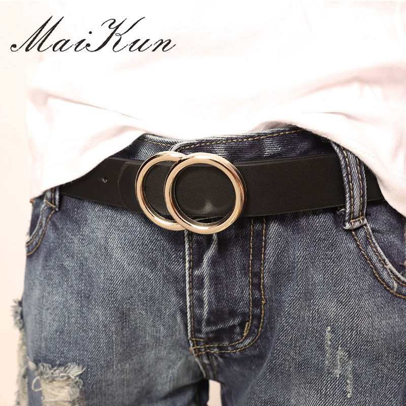 MaiKun Belts For Women Female Double Ring Buckle Leather Thin Belt Straps Waistband For Pants Skirt