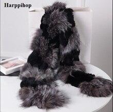 Harppihop シルバーキツネの毛皮黒新キツネの毛皮の c/w レックスウサギの毛皮のスカーフラップ岬ショール最高クリスマスプレゼント誕生日プレゼント
