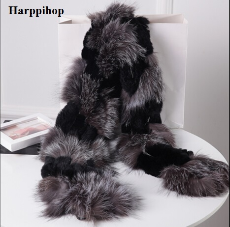 Harppihop silver fox fur black color New Fox fur c/w rex rabbit fur   scarf     wrap   cape shawl best Christmas gift birthday gift