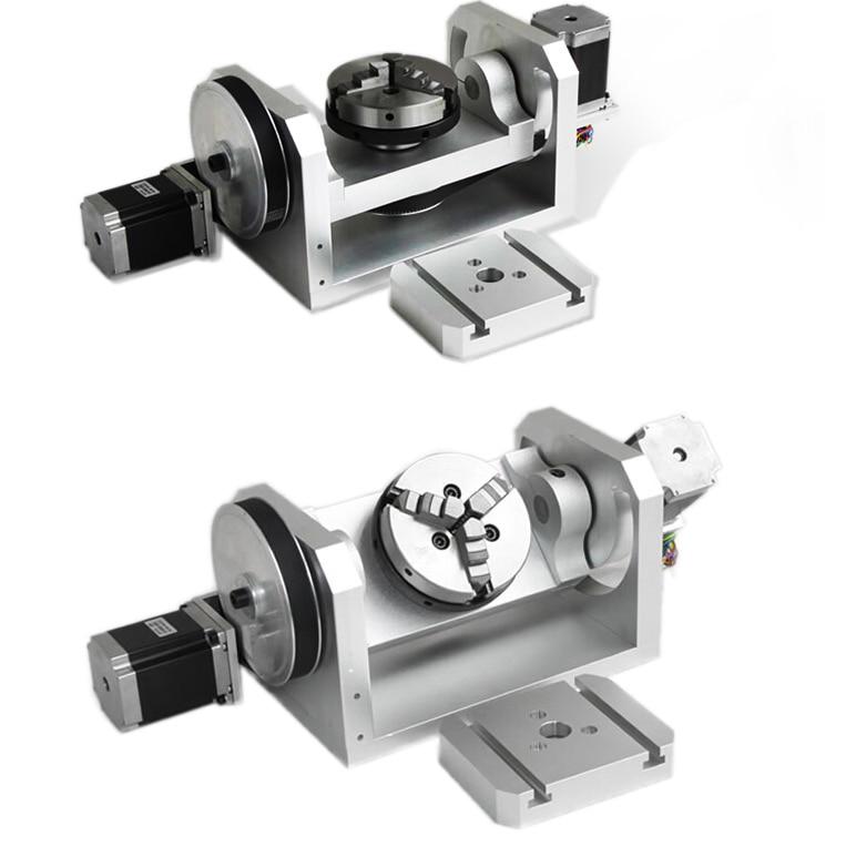 Axe rotatif CNC axe axe avec K01-100-Jaw mandrins pour Mini CNC routeur pièces de Machine à bois FAI DA TE