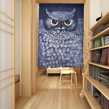Nice Curtains Blue Owl Door Curtain Cloth Partition Decoration Feng Shui Door Curtain Durable