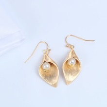 Long Lily Flower Shaped Drop Earrings