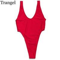 One Piece Women Bikini Sexy Red Black White Solid Color Swimwear Female Swimsuit Beach Sun Bathing