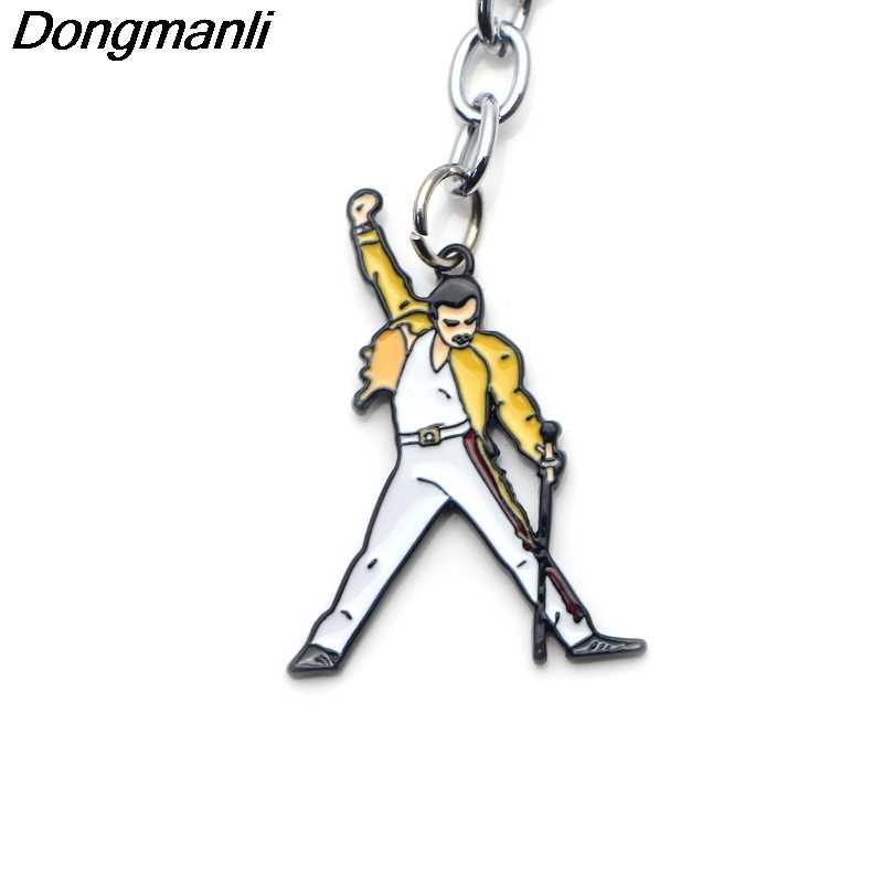 P3489 Dongmanli Cantante di Musica per Banda di Arte Freddie Mercury Chiave Portachiavi di Auto Portachiavi Anelli di Metallo Dello Smalto Dei Monili Ventole Regali