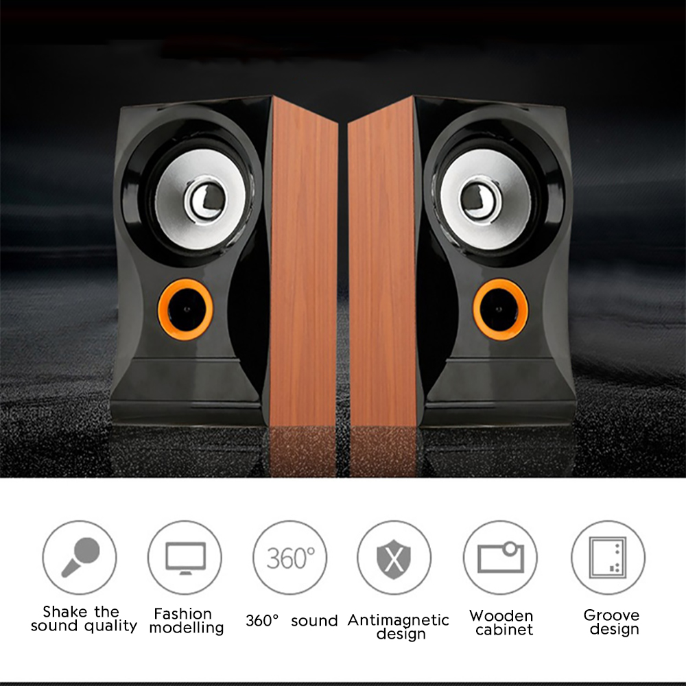 Ol15 Portable Retro Desktop Wired Speaker Wooden Multimedia 3d Hi Fi Pc System Surround Hifi Stereo Column Speakers For Mp3 Mobile Phone In Computer From