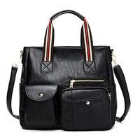 2019 Black Female Shoulder Bag Many pockets Messenger Bags Women Pu Leather Handbags Bags for Women Sac a Main Ladies Hand Bag