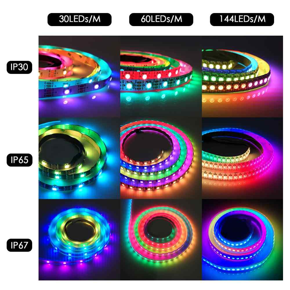 WS2812B تيار مستمر 5 فولت LED قطاع RGB 50 سنتيمتر 1 متر 2 متر 3m 4 متر 5 متر 30/60/144 المصابيح الذكية عنونة بكسل أسود أبيض PCB WS2812 IC 17Key بار
