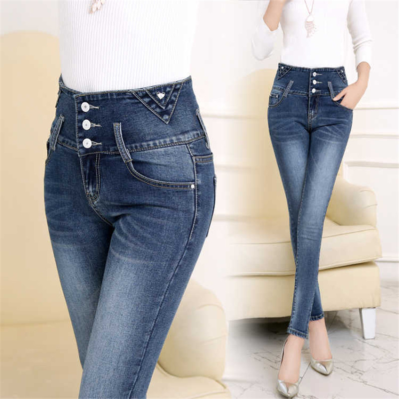 2019 Woman Denim Pencil Pants Stretch Jeans High Waist Pants Women Skinny Jeans Woman Plus Size Black Jeans Pantalon Jean Femme