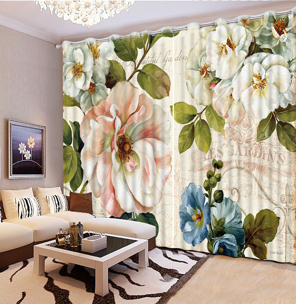 Flower Curtains 2019 3D Home Windows Long Curtain For The Living Room Blackout Curtains
