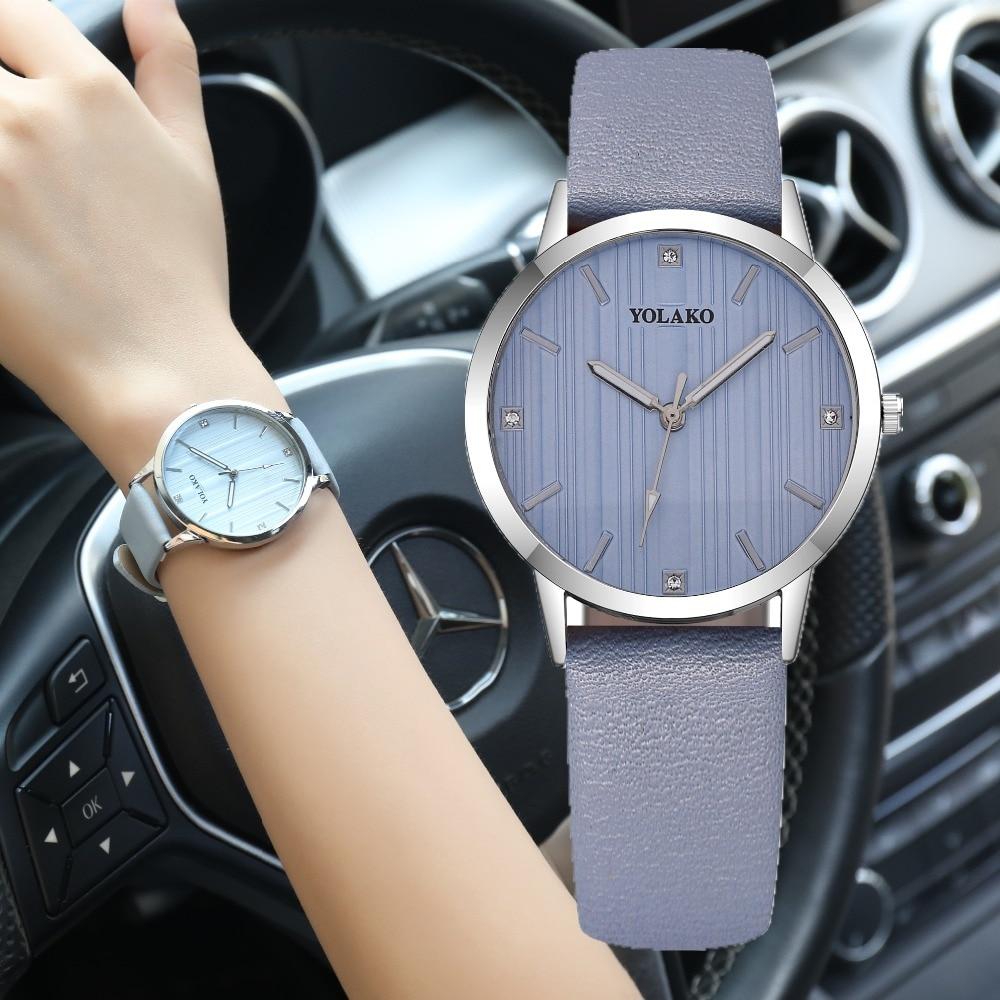все цены на Fashion Simple Women Watches Women Elegant Leather Female Clock Quartz Casual Ladies Wrist Watch Bracelet Gift zegarek damski