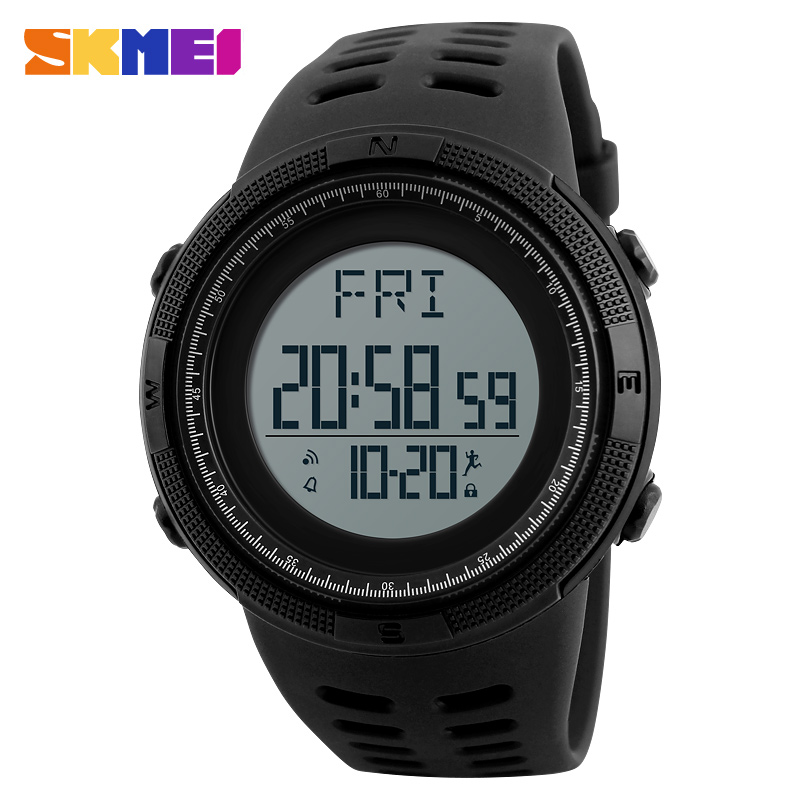 SKMEI Sports Watches Men Outdoor Pedometer Countdown Chronograph Fashion Waterproof Watch Digital Wristwatches Relogio Masculino fashion men watch skmei brand digital sports watches waterproof reloj chronograph men wristwatches relogio masculino