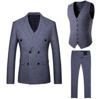 Men's suit is now popular new men's gray double breasted casual suit 3 piece set (coat + pants + vest) banquet dress