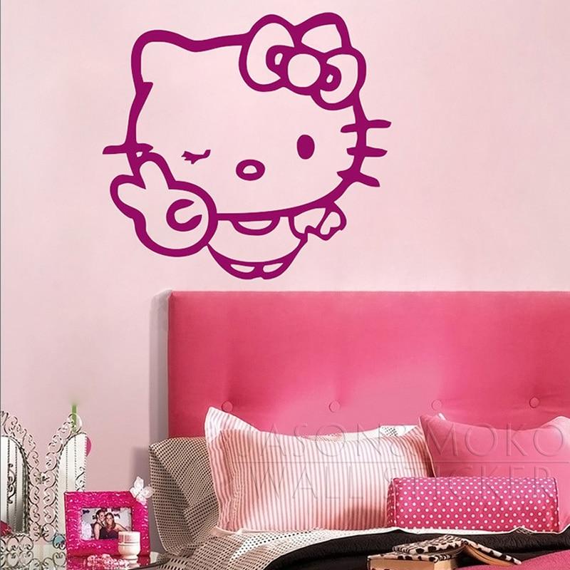 Cartoon Cute Hello Kitty Wink Peace Vinyl Decal Wall Sticker Mural  Wallpaper Kids Girl Baby Room