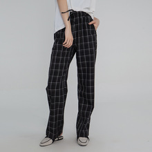 Womens Trousers Spring/summer 2019 Scottish Vintage Plaid Stretch Casual Straight Pants Women