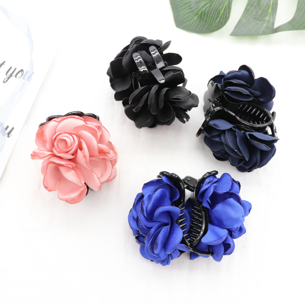New Silk Flower Hair Clip 4 Color Scrylic Cloth Rose Hair Claw For