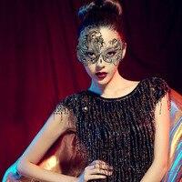 Venedik Masquerade Prenses Maske Rhinestone Lazer Kesim Siyah Metal Kadınlar Parti Malzemeleri