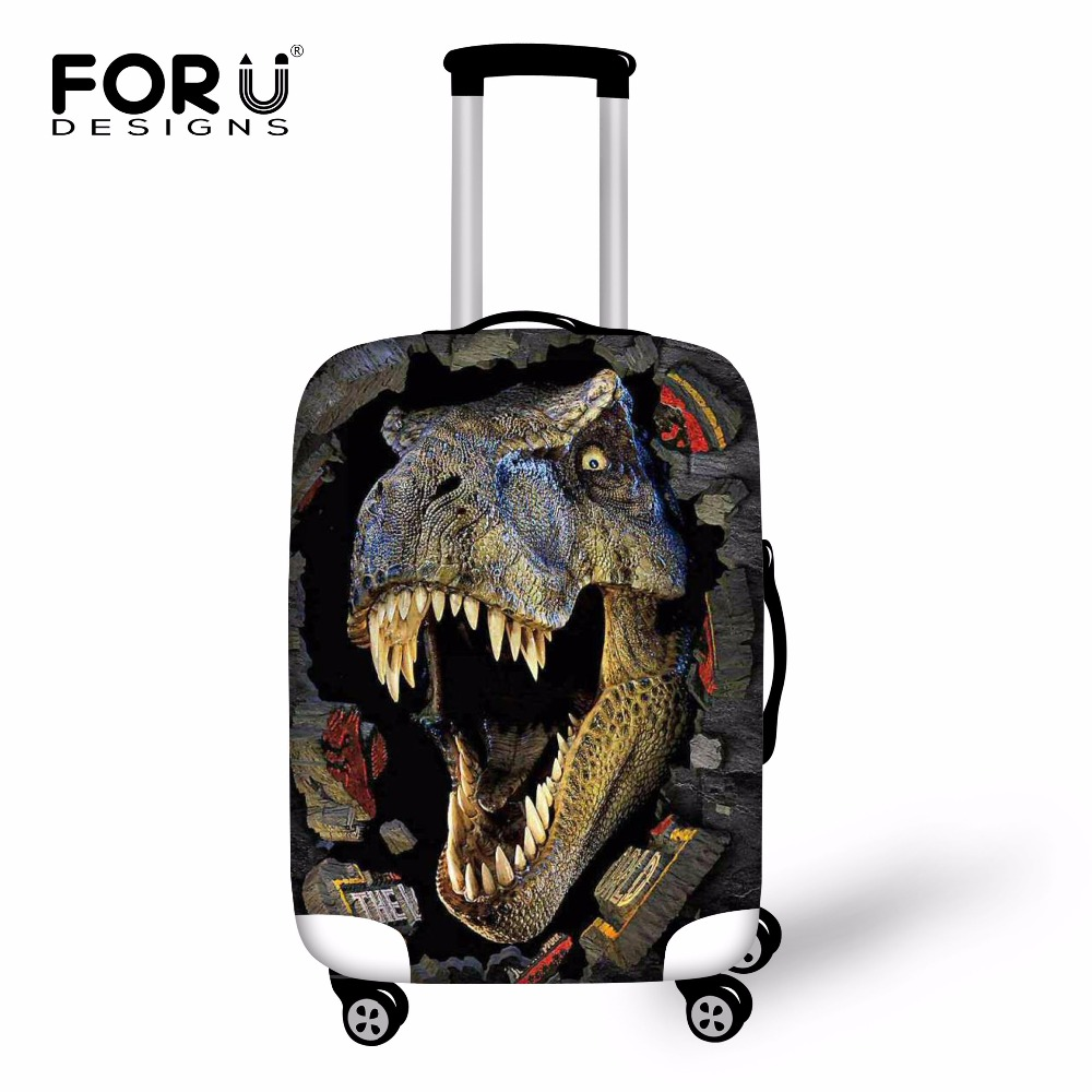 FORUDESIGNS Anti-dust Luggage Protective Covers Cool 3D Dinosaur Mens Elastic Trolley Case Rain Covers For 18-30 Inch Suitcase