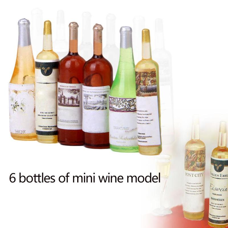 Dongzhur 1:12 Doll House Mini 6 Bottle Wine Kitchen Model Over Kitchen Food Simulation Doll Toy Accessories