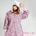 Новый Стиль Прибытие Hello Kitty Животных Косплей Пижамы Зима Леди Взрослых Onesies Хэллоуин Косплей Пижамы Рождество Костюмированный бал
