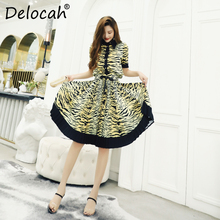 Delocah Spring Summer Women Set Runway Fashion Designer Short Sleeve Vogue Printed Slim Pleated Ladys Skirts Two Pieces Suits