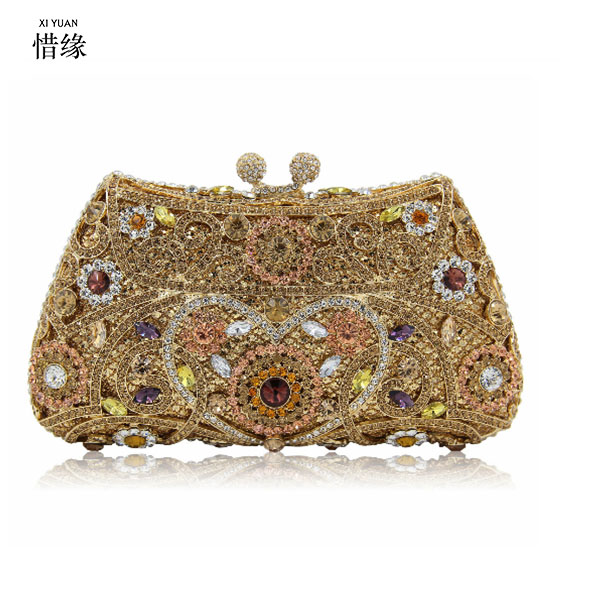 XIYUAN BRAND Vintage Bridesmaids Clutches Women Day Clutch Luxury Crystal Bags Gold Diamond Lady Evening Bag Small Wedding Purse gold plating floral flower hollow out dazzling crystal women bag luxury brand clutches diamonds wedding evening clutch purse