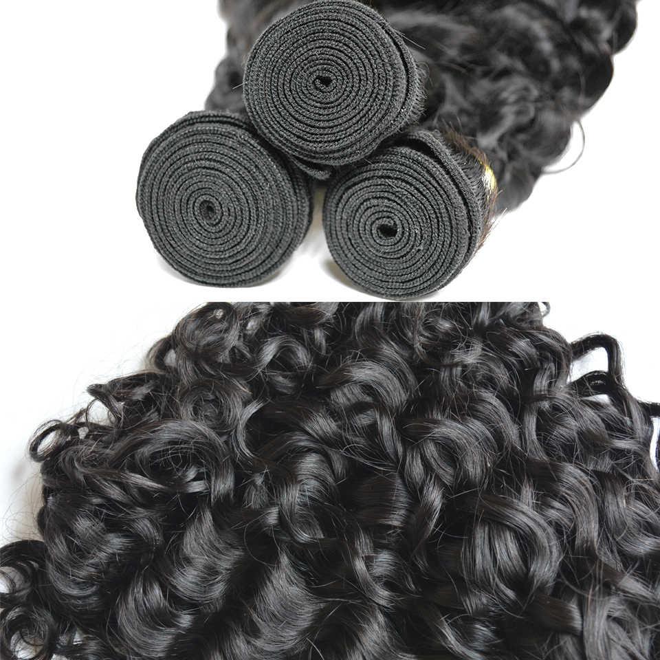 BAISI Saç Malezya Remy su dalgalı saç Doğal Renk 100% İnsan Saç Demetleri 10-28 Inç
