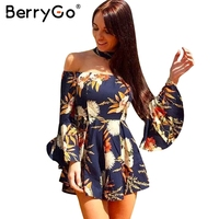 BerryGo Halter Flare Sleeve Off Shoulder Jumpsuit Romper Women Sexy Floral Print Short Playsuit Summer Beach
