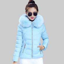 Зимняя Куртка Женщины 2016 Зимнее Пальто Женщин меховой воротник с капюшоном теплое зимнее пальто Вниз & Парки casaco feminino