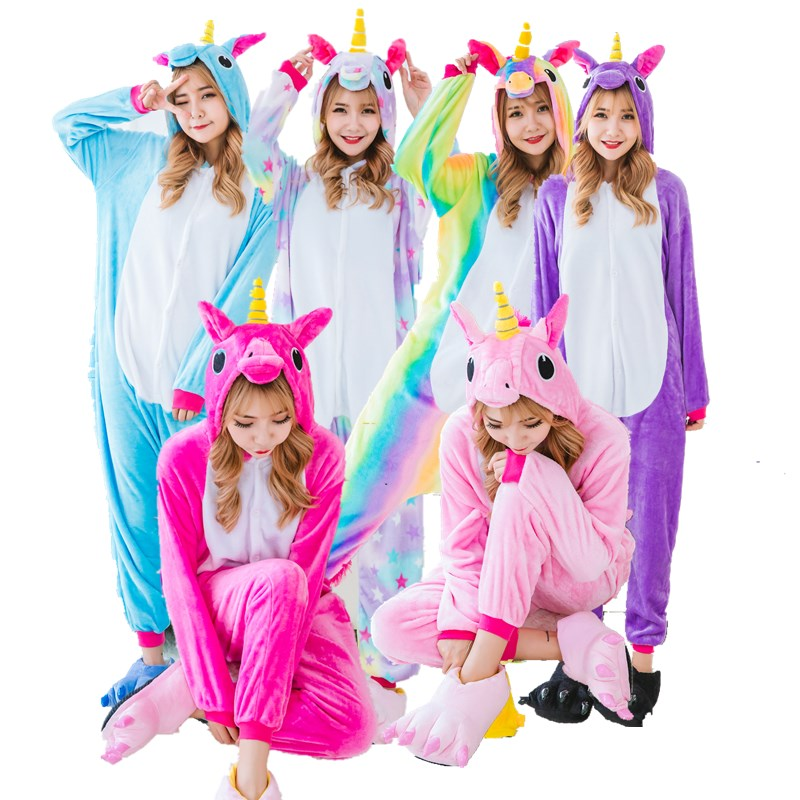 pyjamas licorne toiles arc en couleur filles flanelle pyjamas femmes onesies pour adultes. Black Bedroom Furniture Sets. Home Design Ideas