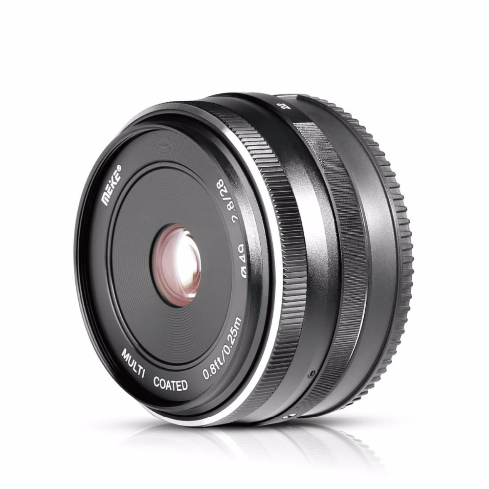 MEKE 28mm f/2.8 Fixed Manual Focus Lens for Olympus Panasonic M4/3 System APS-C Mirrorless Camera EM1 M10 EP5 EP-L3 PEN-7 GF5 G meike 12mm f 2 8 wide angle fixed lens with removeable hood for panasonic olympus mirrorless camera mft m4 3 mount with aps c