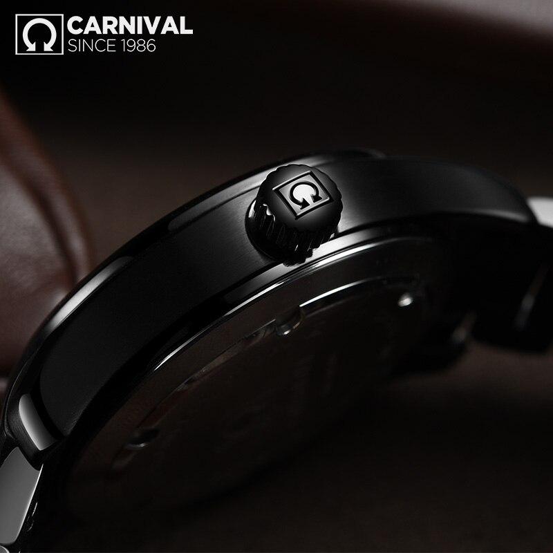 Carnival New T25 Tritium Luminous Quartz Watch Men Full Steel Black Watches Mens Clock Army Man Sport Wristwatch erkek kol saati - 5