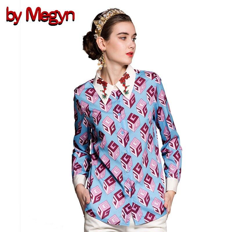 by Megyn new arrival women shirts fashion long sleeve print turn-down collar shirt women blouses plus size 3XL shirts blusas