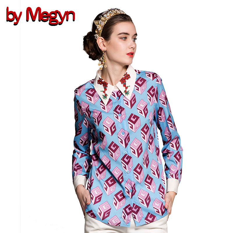 by Megyn new arrival women shirts fashion long sleeve print turn-down collar shirt women blouses plus size 3XL shirts blusas