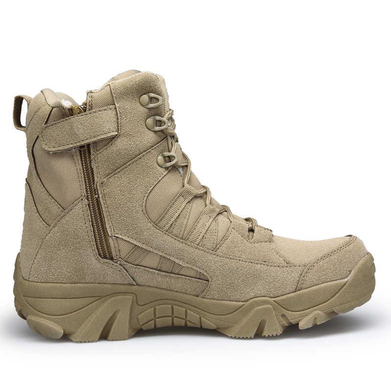 Kış/sonbahar erkekler çöl askeri taktik botları ordu açık yürüyüş çizme moda rahat ayakkabılar su geçirmez iş savaş botları
