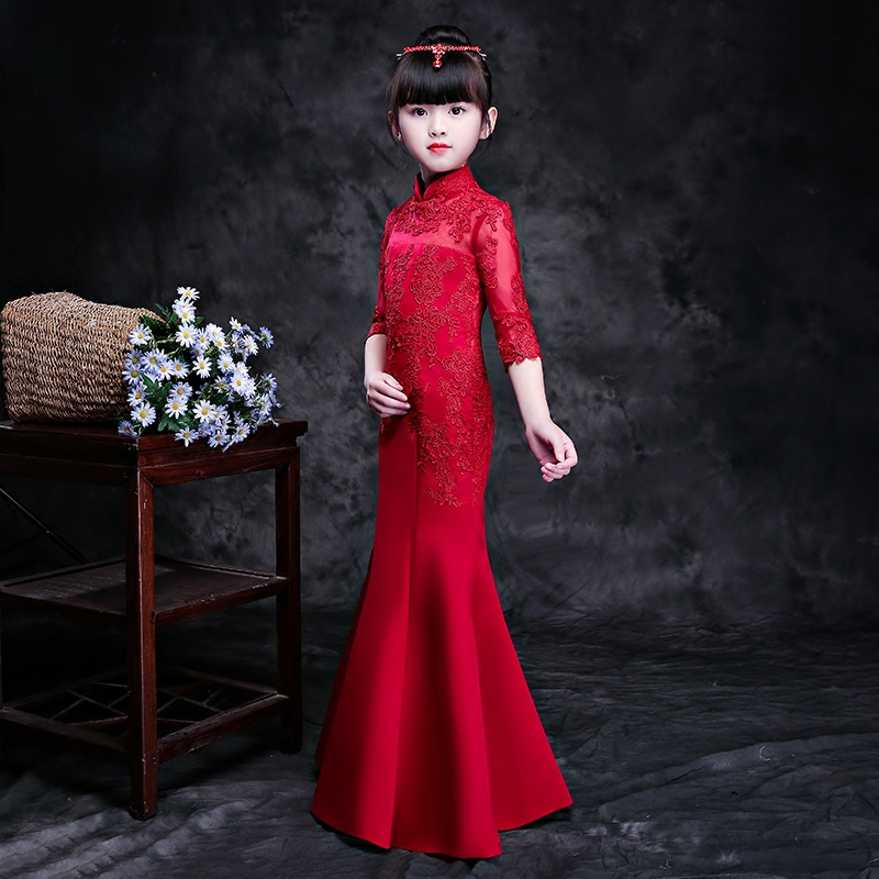 Luxury Princess Girl's Mermaid Dress New Turtleneck collar Emboridery Lace Gowns Half-sleeve Girls Banquet Party Dresses F625 turtleneck 3 4 sleeve cut out midi dress