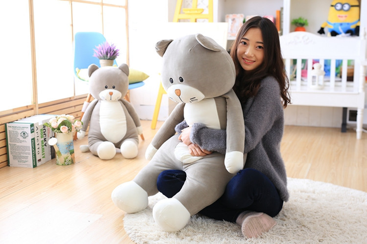big plush cat toy new soft gray cartoon cat doll pillow gift about 100cm big plush whale toy big head white foam dolphin doll pillow gift about 70cm