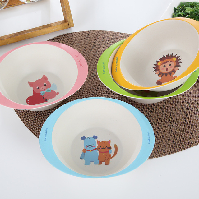 Childrenu0027s tableware Cartoon Feeding Set bamboo fiber Bowl Baby cutlery Eco Friendly Non-slip & Childrenu0027s tableware Cartoon Feeding Set bamboo fiber Bowl Baby ...